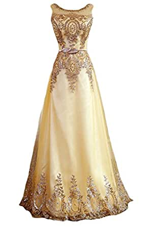 Fanhao Women's Sequined Plume Belt Lace-up Gold Long Prom