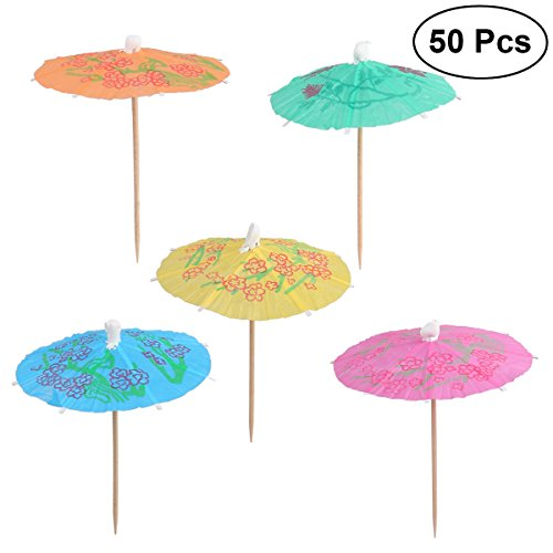 LUOEM Umbrella Parasol Cocktail Picks Cocktail Parasol Drink Cupcake Toppers Umbrella Paper Parasol Picks for Hawaiian Party Pool Party,Pack of 50 (Mixed Color)