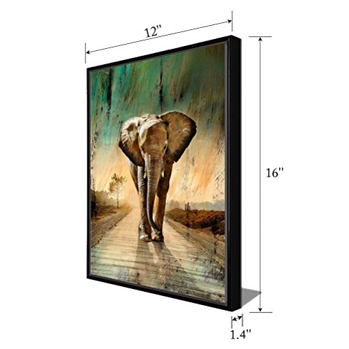 Animal Painting - Wall Art Elephants Waking Down Green Grassland Road Picture Prints on Canvas with Black Floater Frame Ready to Hang for Home Living Room Bedroom Decor (Elephant1, 12x16inch)