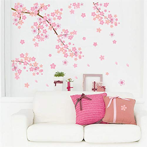 (Chiam-Mart 1 Pack Pink Cherry Blossoms Tree Wall Sticker DIY Romantic Background Lotus Flowers World Map Decal Boys Home Laptop Decals Hair-Raising Fashionable Vinyl Mural Art Decor)