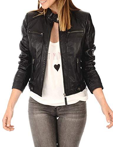 LEATHER FARM Women's Lambskin Leather Bomber Biker Jacket (X-Small, Black-1)