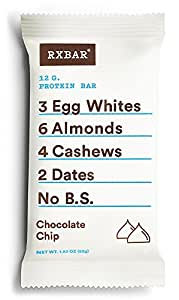 RXBAR Whole Food Protein Bar, Chocolate Chip, 12 Count