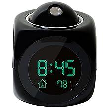 SODIAL(R)Multi-function Digital LCD Voice Talking LED Projection Alarm Clock Black