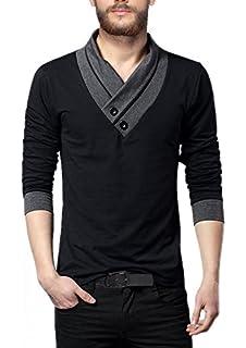 717b8d74a839 Fashion Freak Full Sleeves T Shirt for Men V-Neck Cotton Grey Black ...