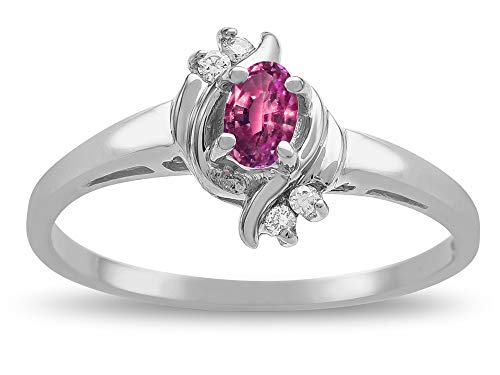 Star K Small Oval 5x3mm Genuine Pink Tourmaline Bypass Ring 14 kt White Gold Size 8