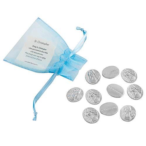 DANFORTH - Vilmain Saint Christopher Pocket Tokens - Bag of 10 Pocket Coins - Pewter - Made in USA