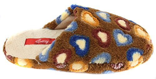 Brown Women's Plush Heart Slippers Colorful Valentine Scuffs wwHYxr4pq