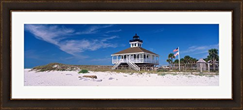 Lighthouse on the beach, Port Boca Grande Lighthouse, Gasparilla Island State Park, Gasparilla Island, Florida, USA by Panoramic Images Framed Art Print Wall Picture, Brown Gold Frame with Hanging Cleat, 46 x 21 inches (Boca Grande Lighthouse)