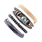 Elefan Cornelia Gift Adjustable Knot Buckle Knitting Leather Wooden Beads Bracelet Set for Men Boy Kids(4 Pieces)