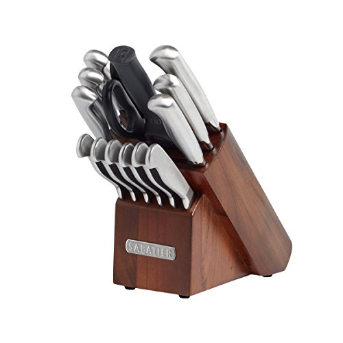 Sabatier 15-Piece Stainless Steel Hollow Handle Knife Block Set, Acacia