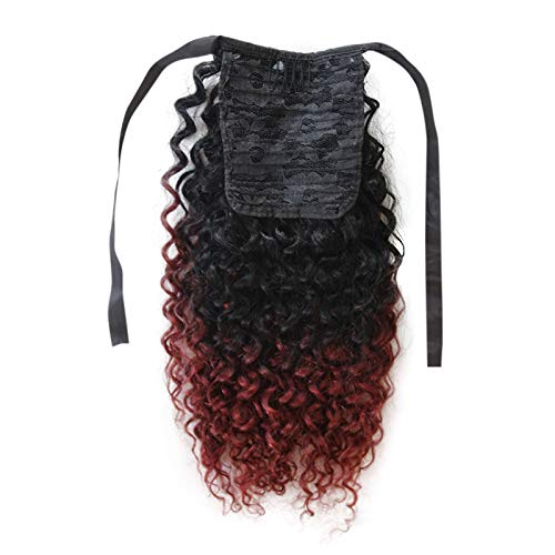 Unprocessed Human Hair Clip in Ponytail Hair Extensions Clip on Ribbon Ponytail Hair Extensions (Deep Curly 14'' 70g, T1B/99J)