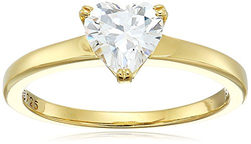 Yellow-Gold-Plated Silver Heart-Shape (1.5 cttw) Solitaire Ring made with Swarovski Zirconia, Size 6 - Emerald Heart Shaped Ring