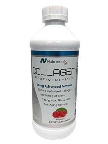 Nutraceutic Labs Collagen Promoter-Pro Raspberry Flavor/Liquid Collagen 8000mg+10000 mcg Biotin-16oz