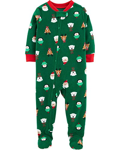 Carter's Baby Boys' 1-Piece Baby Christmas Fleece Pajamas (12 Months), Green]()