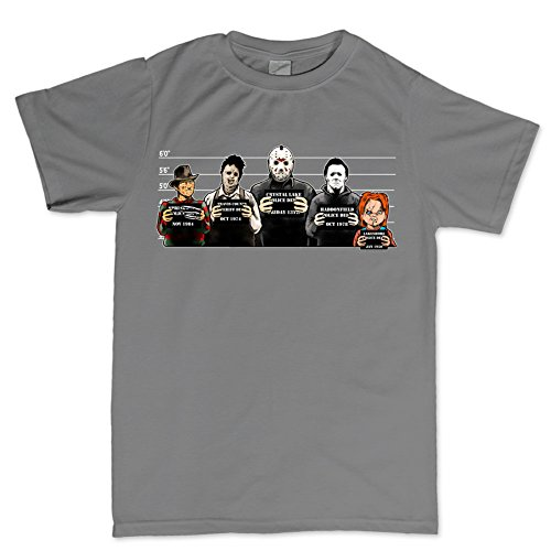 Customised_Perfection The Usual Horror Suspects Halloween T Shirt CHR L Charcoal Grey ()