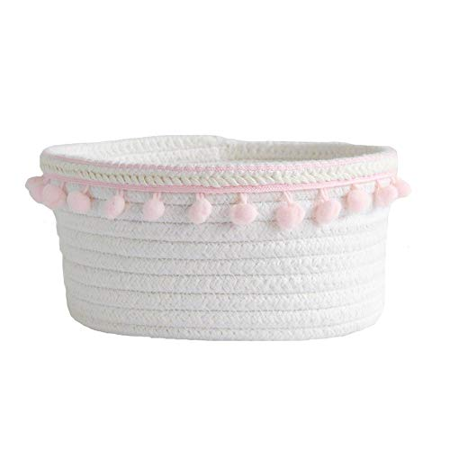 Woven Cotton Rope Storage Basket - Monochrome Simple Desktop Sundries Cotton Storage Box, Foldable Woven Basket for Laundry, Storage of Toy Makeup Key, Baby Nursery Organizer