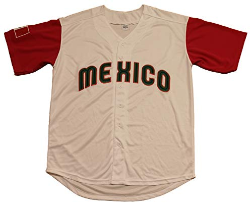 Kooy Mexico Puerto Rico Colombia Italy Cuba Venezuela World Classic Baseball Jersey Men Adult (Mexico_White, - Baseball Jersey Cuba
