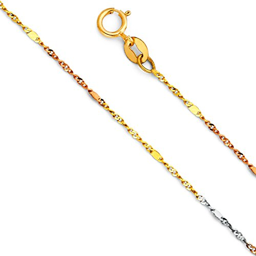 14k Tri Color Gold 1mm Singapore Chain Necklace - 22