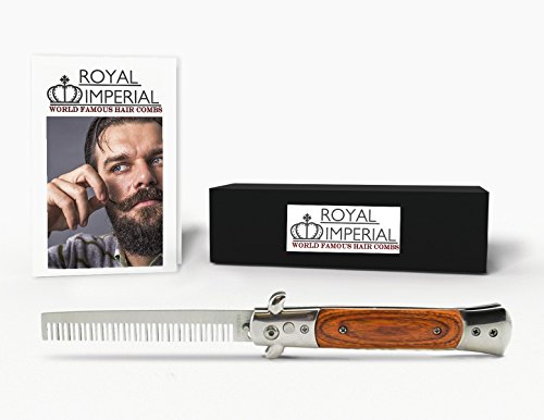 Royal Imperial High Quality Metal Switchblade Pocket Folding Flick Hair Comb For Beard or Mustache Polished Wood Handle INCLUDES Beard Fact Wallet (Horns Costume Wig)