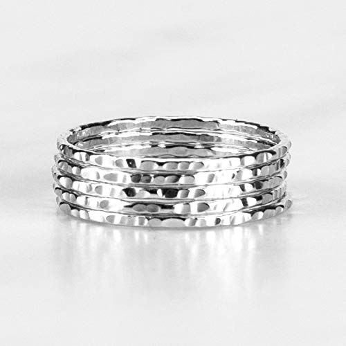 Delicate Stacking Rings – Hammered Argentium Silver- Sold per Ring - Custom Made To Your Size