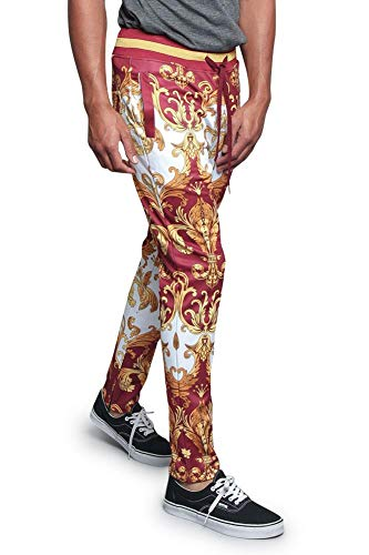 Victorious Men's Royal Gold Baroque All-Over Pattern Track Pants with Inner Ankle Zipper and Striped Two Tone Waistband TR539 - Burgundy - Medium - V4D