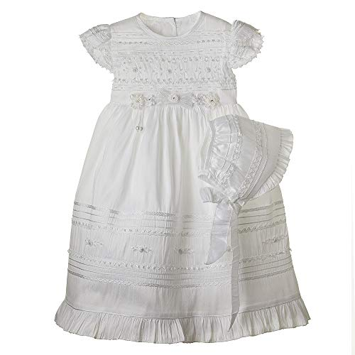 Details and Traditions Dainty Guipure Dress, MIR-002 Girls Cotton Baptism Dress, Christening, Baptism Cotton Dress, Christening Dress, Baby Dress, Catholic Dress (3mo, Soft White)