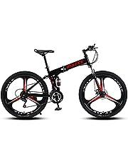 دراجة جبلية قابلة للطي بسرعة 21 من ماسي، 3 عجلات من الصدمات 66 سم، أسود