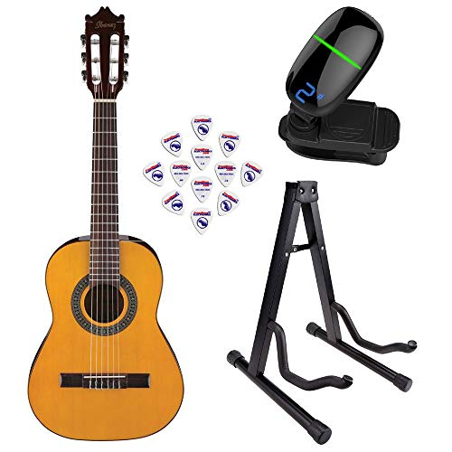 Ibanez GA1 6 String Classical Guitar - Amber High Gloss with Front Row Guitar Stand, tuner and pick sampler (IbaGA1 Bundle1)