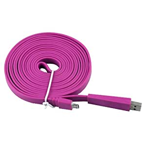 Purple 3M 3 Metre Flat Micro USB Data Cable Lead for HTC One S / V / X / VL