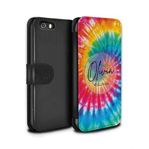 Personalized Custom Fabric Tie-Dye Patterns PU Leather Case for Apple iPhone 5/5S / Rainbow Eclipse Swirl Design/Initial/Name/Text DIY Wallet/Cover (Eclipse Bumper Case For Apple Iphone 5 5s)