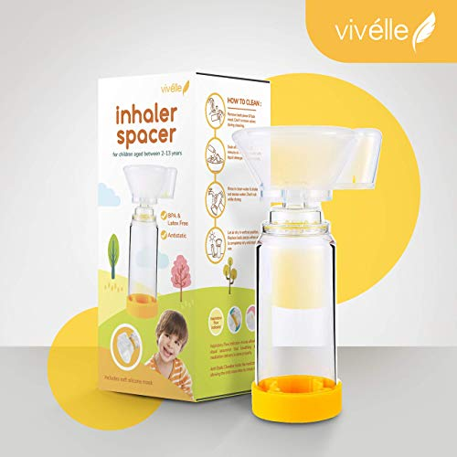 Vivélle Pediatric Inhaler Spacer with Soft Silicone Mask - Safety Sealed Spacer for MDI Inhaler Children 2-13 Years Old - Asthma Inhaler Spacer for Kids Using Puffer CE Approved Latex & BPA Free (Spacer Mask)