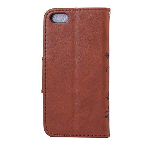 RanRou Apple iPhone 6 plus 6s plus Leather Case [Butterfly Flower Pattern],iphone 6s Flip PU Leather Wallet Card Slot Stand Case Cover For iPhone 6/6S plus 5.5 inch-brown