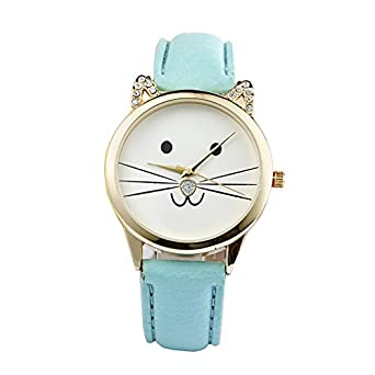 Gatos cara Reloj de pulsera - SODIAL(R)Damas diamante precioso gatos cara cuero de imitacion reloj de cuarzo Lago azul: Amazon.es: Relojes