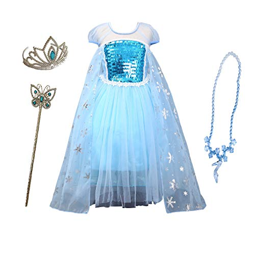 Familycrazy Ice Queen Elsa Girl's Princess Frozen Dress-up Costume for Birthdays, Parties, Halloween, Themed Parties – Includes Magic Wand & Sparkle Tiara Crown (120cm(5-6Y), Blue(Short Sleeve)) ()