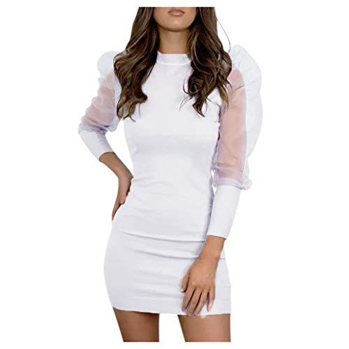 MOHOLL Women's Casual Basic Pencil Dress Sexy Long Mesh Sleeve Bodycon Midi Club Dress