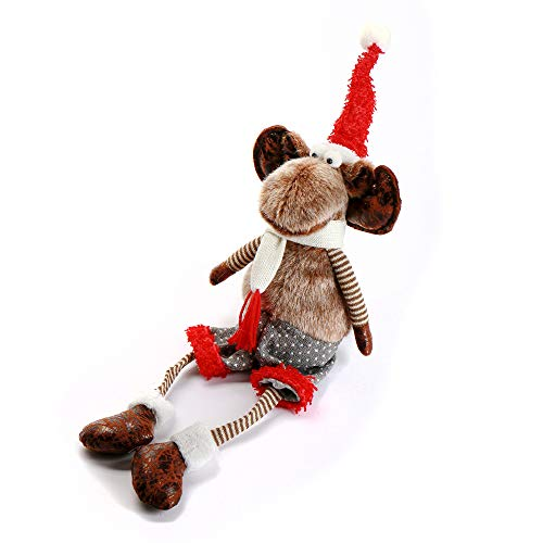 ITOMTE Swedish Handmade Reindeer Stuffed Figurines - 21 Heaven Sends Plush Sitting Moose with Dangling Legs - Winter Elk Home & Table Decoration/Easter Day Figurine Gifts - Red