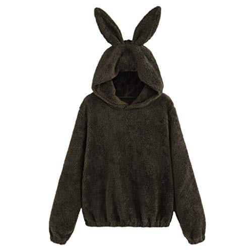 Women Casual Thick Plush Rabbit Ears Hooded Casual Sweatshirt ()