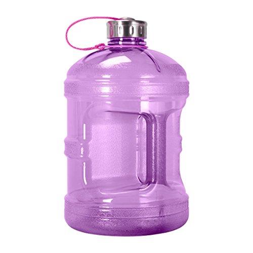 Geo Sports Bottles GEO 1 Gallon (128oz) BPA Free Reusable Leak-Proof Drinking Water Bottle w/48mm Stainless Steel (Purple)
