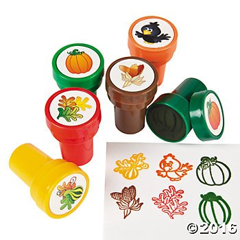Plastic Harvest Pumpkin and Fall Leaves Stampers - 24 pc (Thanksgiving Favors)