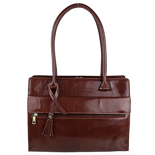 Da spalla Vintage in pelle marrone italiana %2FWork by Troika-Borsa Tote