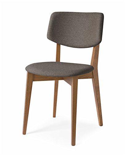 Connubia Robin Upholstered Wooden Chair - Beech Walnut Frame - Berna Taupe Seat Calligaris Dining Chairs