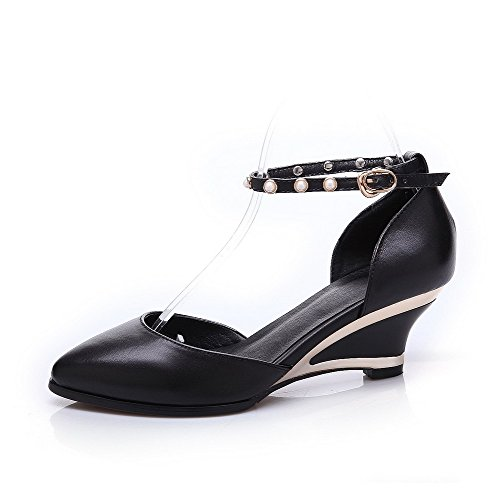 Black Pointed Sandals Solid Buckle Material Womens Heels Soft Toe AmoonyFashion Kitten pxvUFC7Bwq