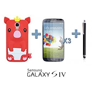 OnlineBestDigital - Piggy Style Silicone Case for Samsung Galaxy S4 IV I9500 / I9505 - Red with 3 Screen Protectors and Stylus