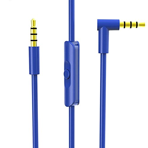 Monoy Replacement Beats Audio Cable + Inline Remote/Microphone for Beats by Dr. Dre Headphone SoloHD/Studio / Pro/Detox / Wireless - Compatible for Samsung S7 Note 5 LG V10 G5 iPhone 6s (Blue)