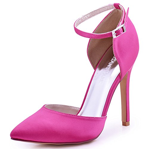ElegantPark HC1602 Women's Pointed Toe High Heel Ankle Strap D'Orsay Satin Dress Pumps Hot Pink US 8