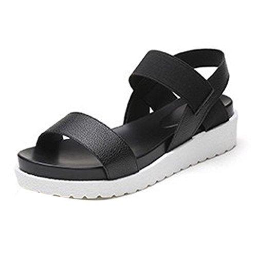 Été Bovake Loisir Femme Peep Basses Sandales Noir Toe Romaines Chaussures xEwEr