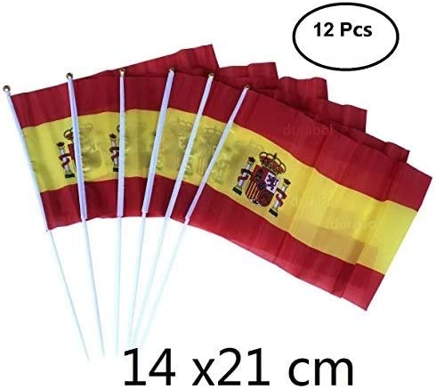Durabol 12 PCS Bandera De Mano España (14X21cm): Amazon.es: Hogar