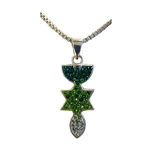 Chantilly Crystal (Wholesale Christian Gifts Menorah, Star & Fish Silver & Crystals Necklace - Green)