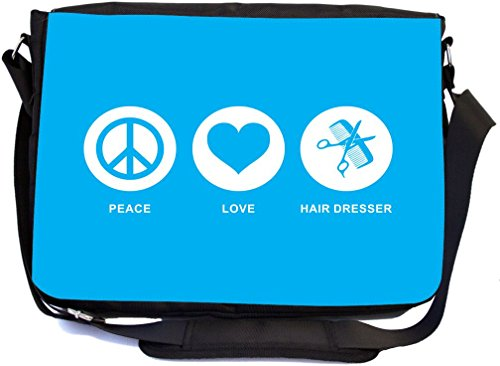 Rikki Knight Peace Love Hair Dresser Sky Blue - SuperStrong Messenger Bag - School Bag - with padded pockets for Laptops & Tablets up to 14.5