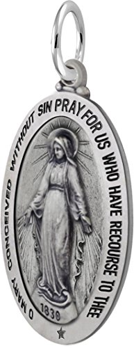 - US Jewels And Gems 1.25in 0.925 Sterling Silver Miraculous Virgin Mary Antique Finish Pendant
